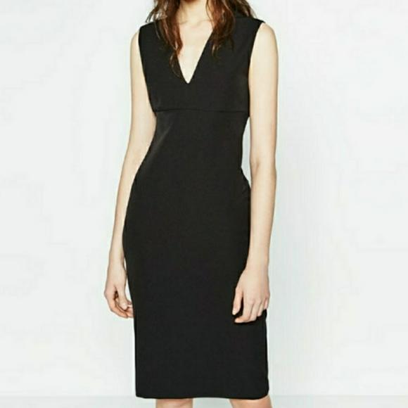 Zara Woman Midi Long Sleeve Belted Midi Striped Black Blue V neck Dress Size Xs